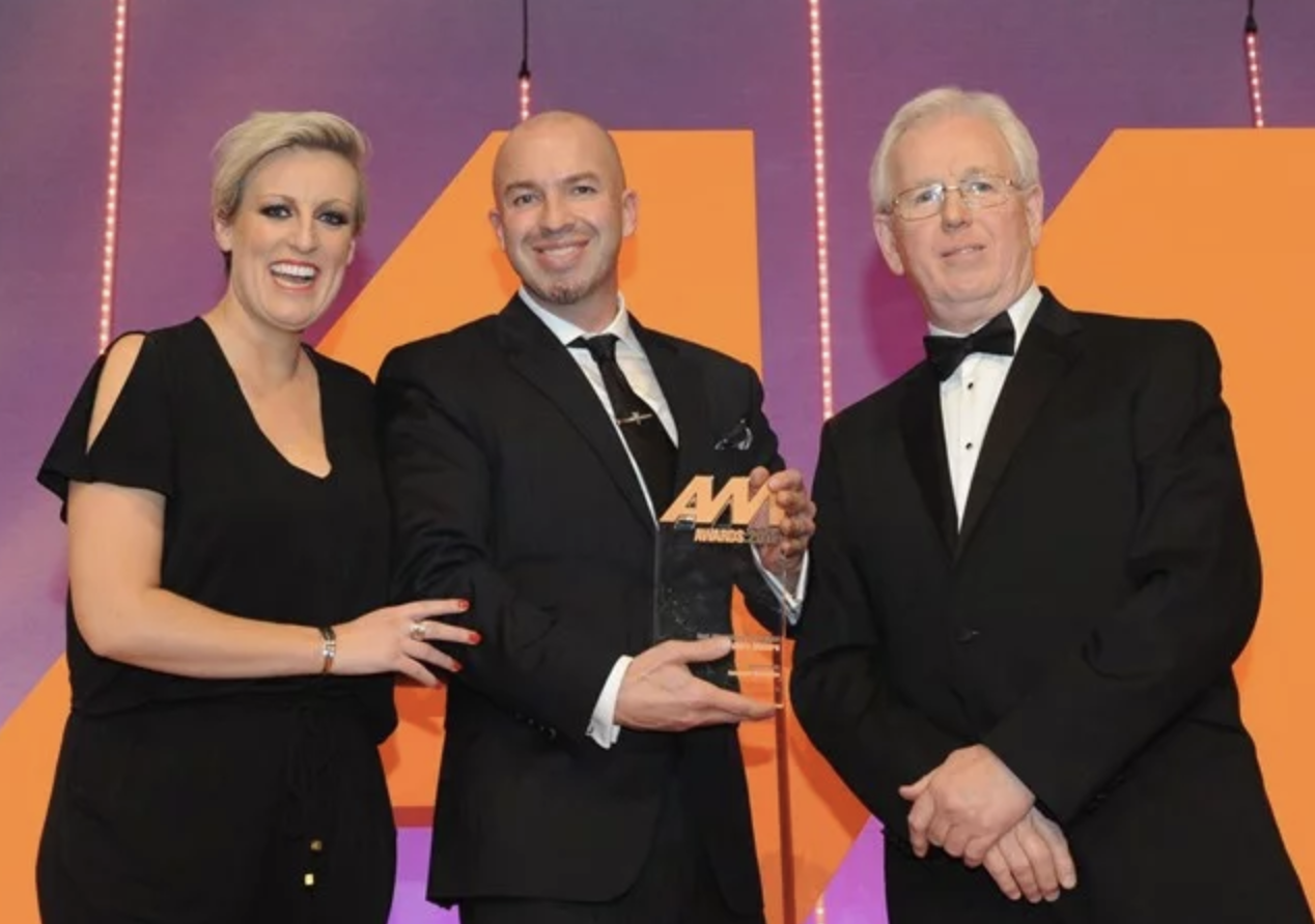 Going from left to right the people shown here are the awards host Steph McGovern, Devonshire Motors MD Nathan Tomlinson and Autoguard Warranties Director Richard Lailey.